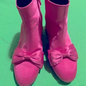 Hot Pink River Island Satin Bow Ankle Boots